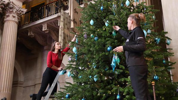 Staff decorate one of the giant Christmas trees in the Great Hall at Blenheim Palace four[2]